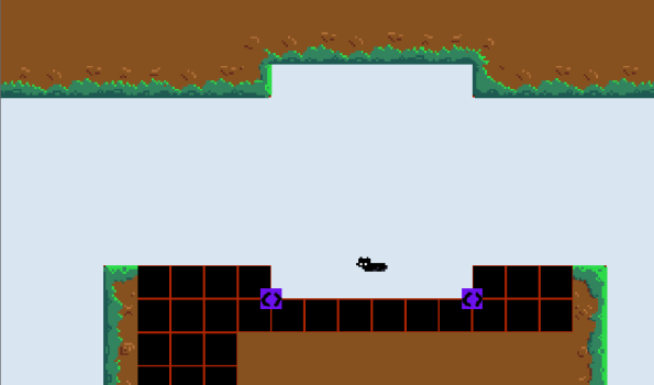 The enemy will endlessly walk in the direction it is facing until it is flipped around by the purple markers. Also note that I first create a level with these basic 'grids' and then overlay the tiles to make it look pretty.