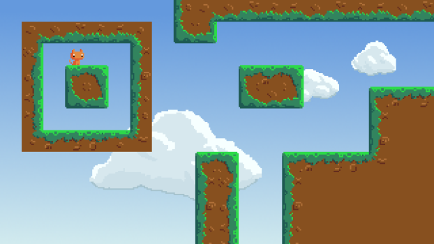 Tiles are exactly what they sound like – square blocks that you can place next to each other. They can fill up a scene without having to draw the same thing over and over. This image layout (not a screenshot) allowed me to edit every single tile and see how it looked next to the other ones.