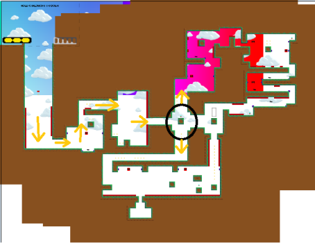 At the circled point, the player can either go up or down - I wanted to try having some choice in the level design. I'm not sure if it was especially successful, and in retrospect is unnecessary. I might stick to linear paths for now.